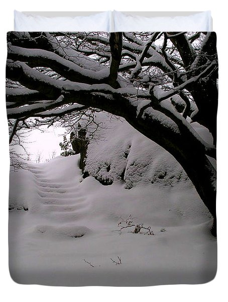 Snowy Path Duvet Cover by Amanda Moore