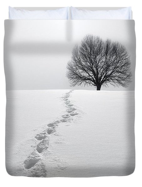 Snowy Path Duvet Cover by Diane Diederich
