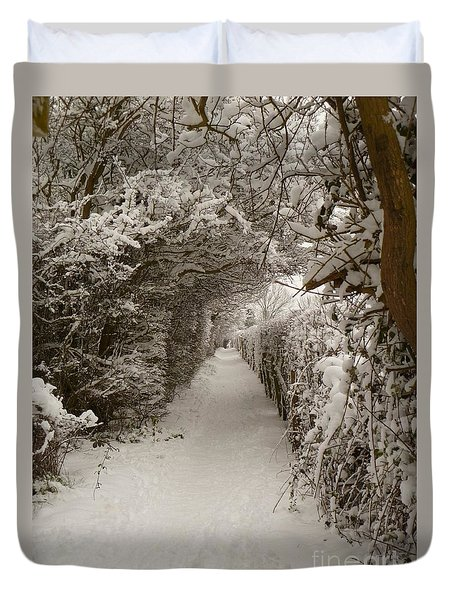 Duvet Cover featuring the photograph Snowy Path by Vicki Spindler