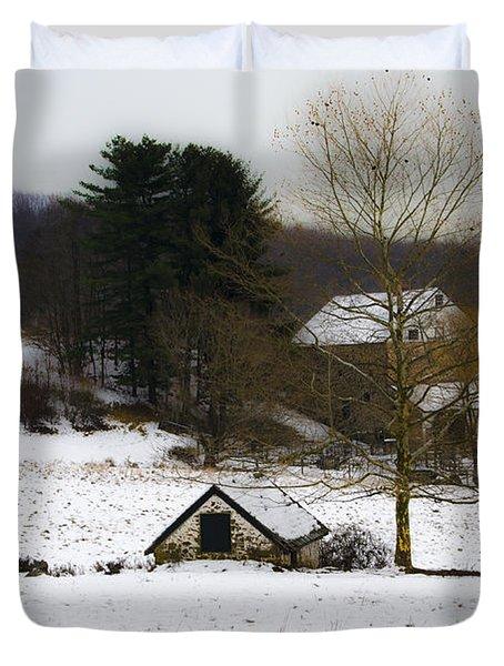 Snowy Pennsylvania Farm Duvet Cover by Bill Cannon