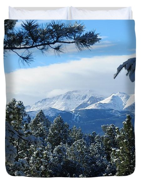 Snowy Pikes Peak Duvet Cover