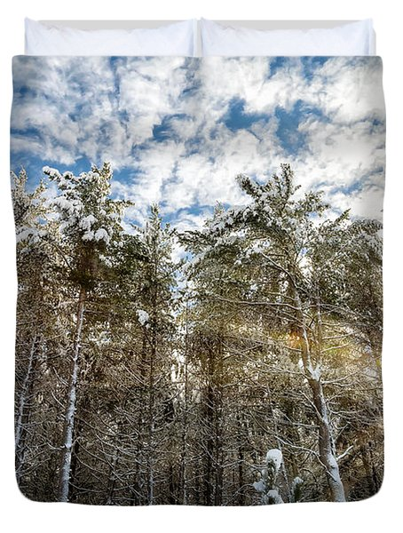 Snowy Pines With Sunflair Duvet Cover by Brian Boudreau