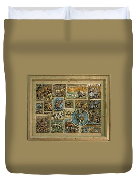 Duvet Cover featuring the sculpture Snowy Range Life - Large Panel by Dawn Senior-Trask
