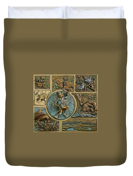Duvet Cover featuring the relief Snowy Range Life - Small Panel by Dawn Senior-Trask