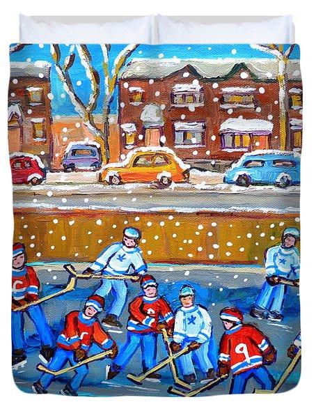 Snowy Rink Hockey Game Montreal Memories Winter Street Scene Painting Carole Spandau Duvet Cover by Carole Spandau