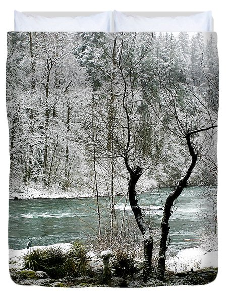 Snowy River And Bank Duvet Cover by Belinda Greb