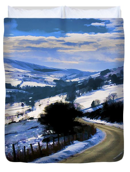Snowy Scene And Rural Road Duvet Cover