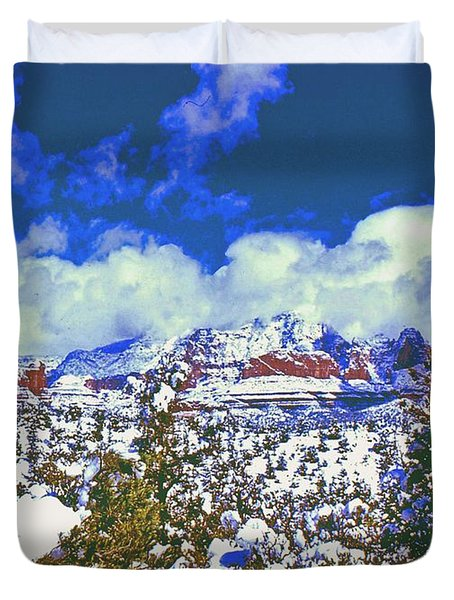 Duvet Cover featuring the photograph Snowy Sedona by Gary Wonning