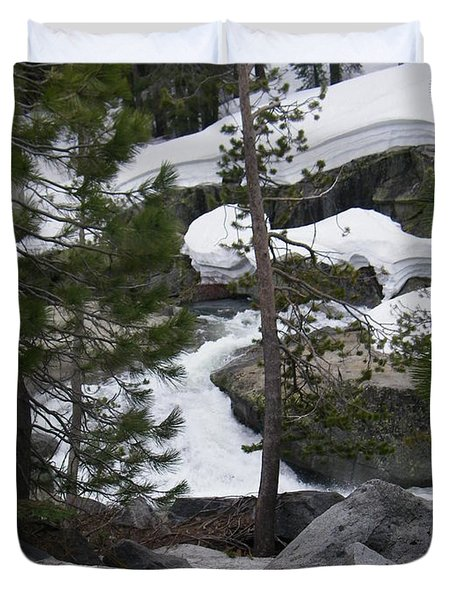 Duvet Cover featuring the photograph Snowy Sierras by Bobbee Rickard