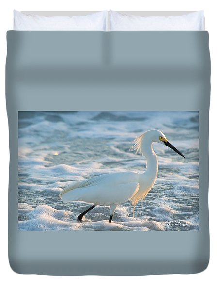 Snowy Siesta Key Sunset Duvet Cover