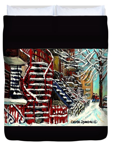 Snowy Steps The Red Staircase In Winter In Verdun Montreal Paintings City Scene Art Carole Spandau Duvet Cover