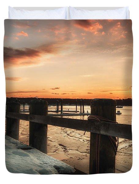 Snowy Sunset In Northport New York Duvet Cover