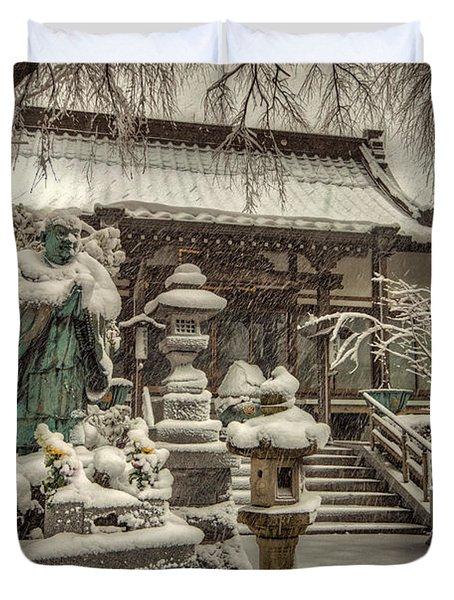 Snowy Temple Duvet Cover