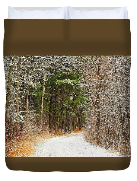 Snowy Tunnel Of Trees Duvet Cover by Terri Gostola