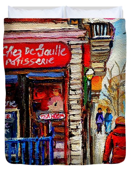 Snowy Walk By The Tea Room And Pastry Shop Winter Street Montreal Art Carole Spandau  Duvet Cover by Carole Spandau
