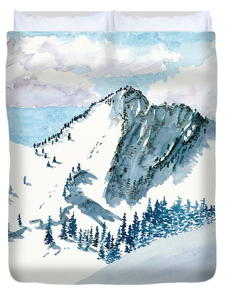 Snowy Wasatch Peak Duvet Cover