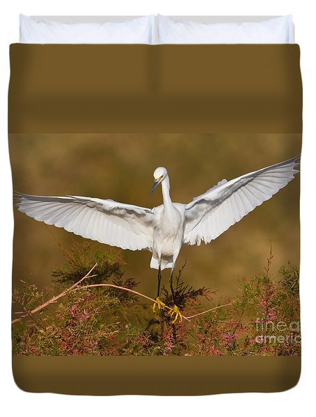 Duvet Cover featuring the photograph Snowy Wingspread by Bryan Keil
