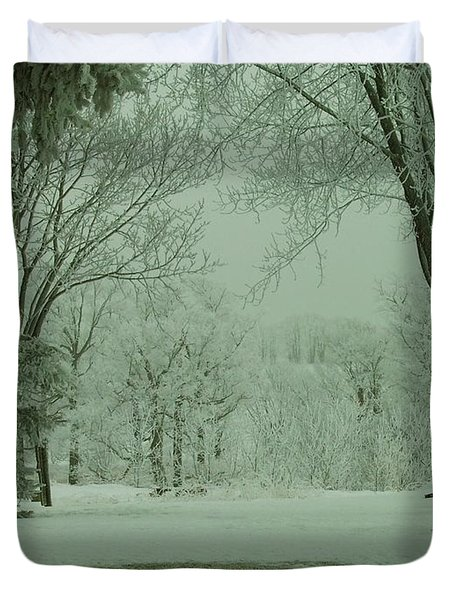 Snowy Winter Frost Duvet Cover
