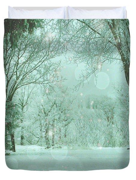 Snowy Winter Night Duvet Cover