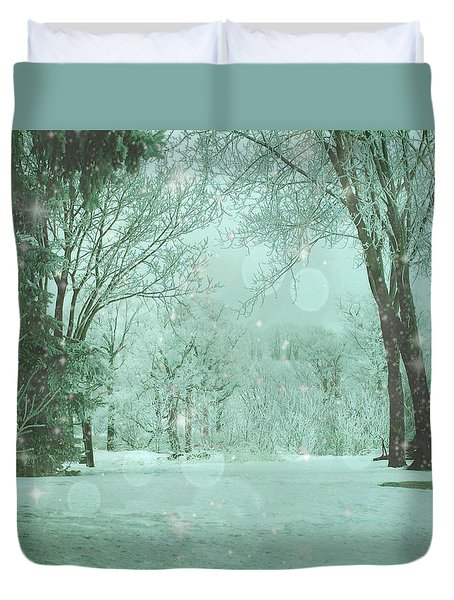Snowy Winter Night Duvet Cover