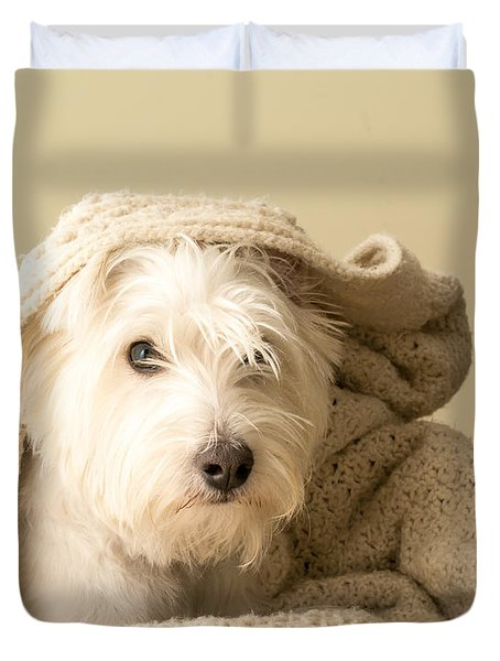 Snuggle Dog Duvet Cover by Edward Fielding