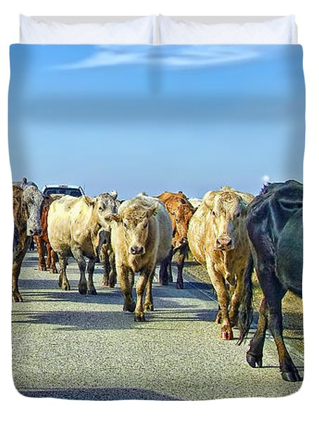 So This Is What Farm To Market Road Means - Panoramic Duvet Cover by Gary Holmes