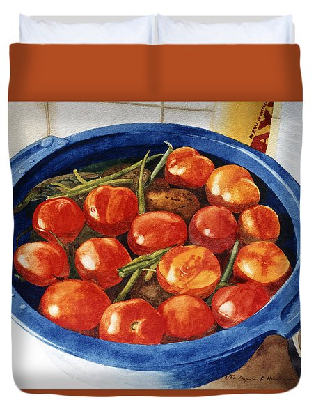 Soaking Tomatoes Duvet Cover