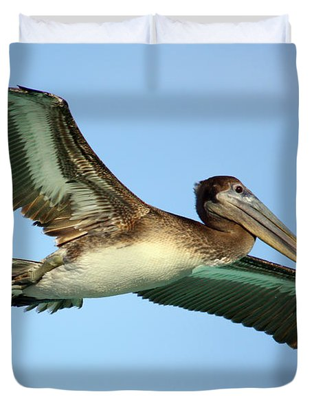 Duvet Cover featuring the photograph Soaring Pelican by Suzanne Stout