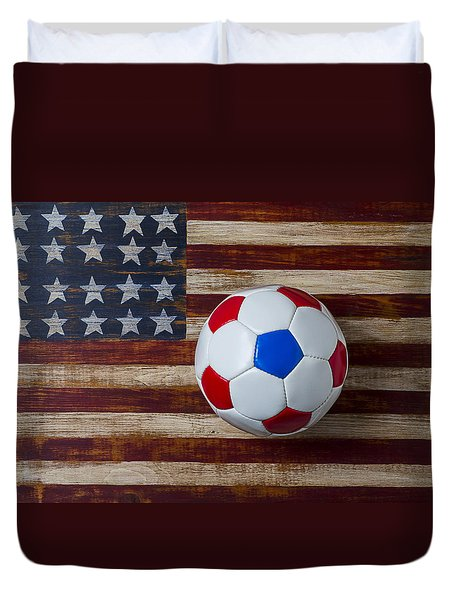 Soccer Ball On American Flag Duvet Cover by Garry Gay