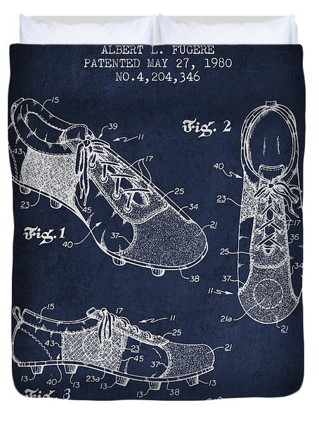 Soccershoe Patent From 1980 Duvet Cover by Aged Pixel