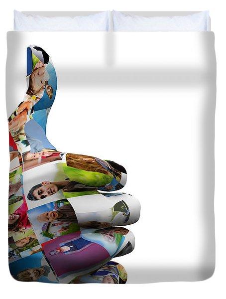 Social Media People Painted Hand In Ok Sign Duvet Cover by Michal Bednarek
