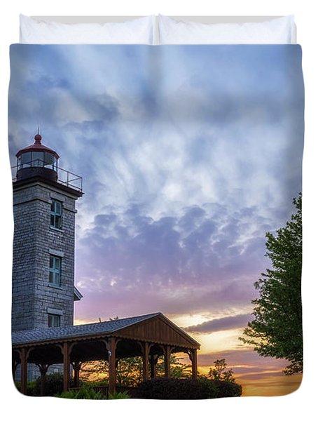 Sodus Bay Lighthouse Duvet Cover by Mark Papke