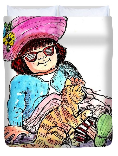 Sofie And Mittens Duvet Cover by Marilyn Smith