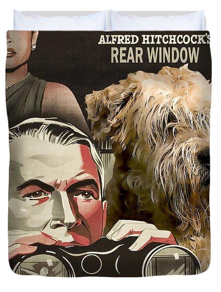 Soft-coated Wheaten Terrier  - Wheaten Terrier Art Canvas Print - Rear Window Movie Poster Duvet Cover