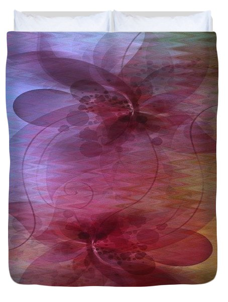 Soft Colored Ripples And Ribbons Abstract Duvet Cover