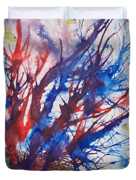 Soft Coral Splatter Duvet Cover by Patricia Beebe