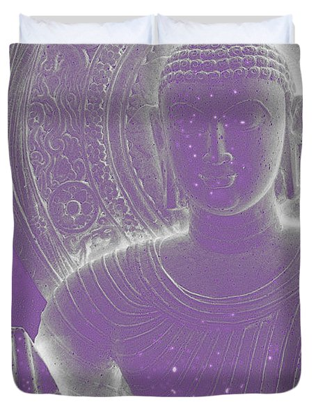 Soft Glow Purple Buddha Duvet Cover by Sally Rockefeller