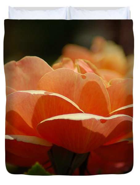 Soft Orange Flower Duvet Cover by Matt Harang