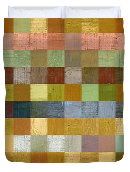 Soft Palette Rustic Wood Series Collage Ll Duvet Cover by Michelle Calkins