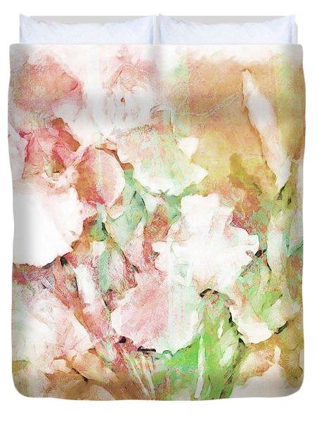 Soft Pink Iris Photo Art Duvet Cover by Debbie Portwood