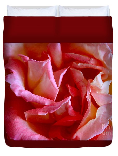 Duvet Cover featuring the photograph Soft Pink Petals Of A Rose by Janice Rae Pariza