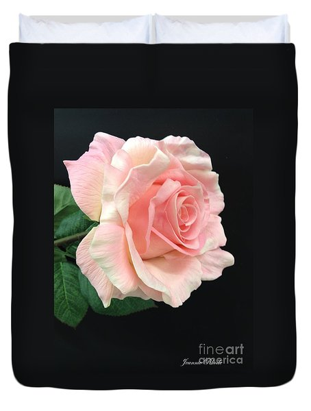 Duvet Cover featuring the photograph Soft Pink Rose 1 by Jeannie Rhode