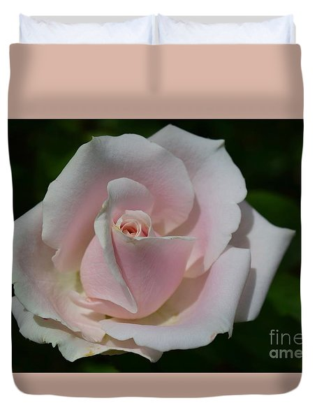 Duvet Cover featuring the photograph Soft Pink Rose by Jeannie Rhode