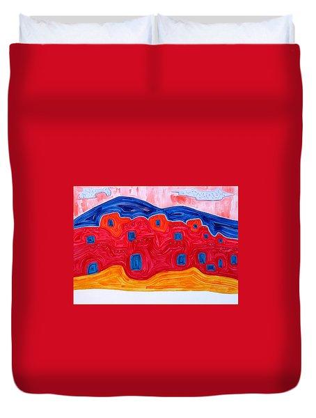 Soft Pueblo Original Painting Duvet Cover