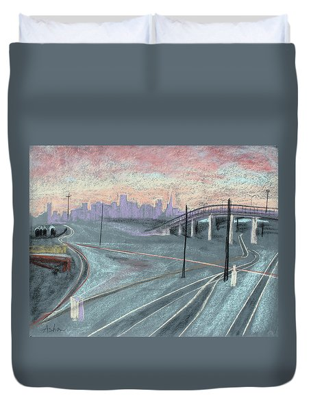 Duvet Cover featuring the painting Soft Sunset Over San Francisco And Oakland Train Tracks by Asha Carolyn Young