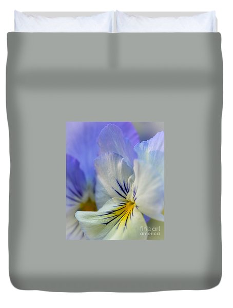 Soft White Pansy Duvet Cover by Amy Porter