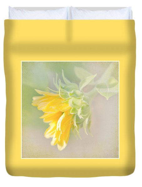 Soft Yellow Sunflower Just Starting To Bloom Duvet Cover by Patti Deters