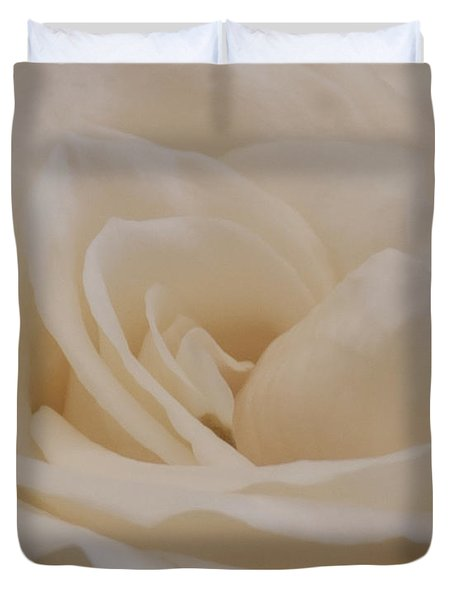 Duvet Cover featuring the photograph Soft Cream Rose Closeup by Sandra Foster