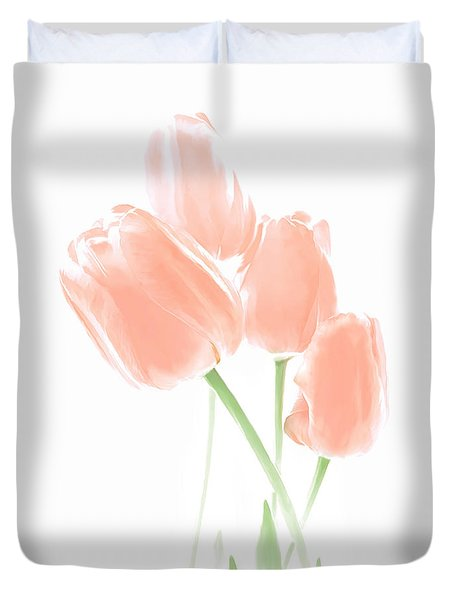Softness Of Peach Tulip Flowers Duvet Cover