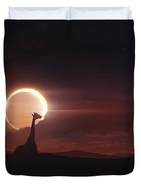 Solar Eclipse Over Africa Duvet Cover by Tobias Roetsch